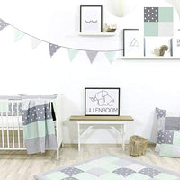 100% Cotton Fabric Bunting Flag Garland Pennant Banner by ULLENBOOM | Star/Checkered | Baby Shower/Party/Nursery | 4 Ft - Unisex Mint/Grey