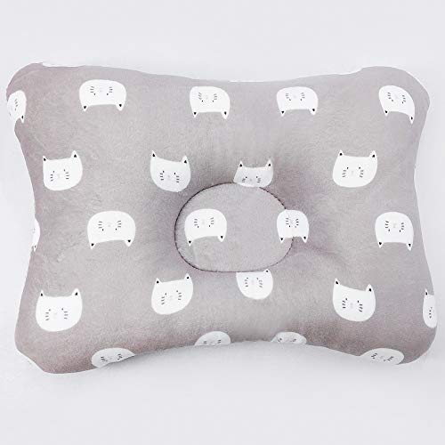ExAchat Baby Head Shaping Pillow for Newborn & Infant, 3D Breathable air mesh for Flat Head Syndrome&Reflux, Protection,Organic Cotton, 100% Machine Washable and Dry-able Grey CAT