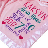 "Kids-Pillowcases-By-Stockingfactory Personalized Baby Blankets (30""x40"", Pink Micro Plush Fleece with Satin Edge) for Girls with Name Birth for Newborn Baby Room Nursery Christening or Baptism"