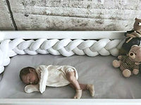 Baby Crib Bumper Knotted Braided Plush Nursery Cradle Decor Newborn Gift Pillow Cushion Junior Bed Sleep Bumper for Toddlers(78 Inch/2M, Gray+White+Pink)