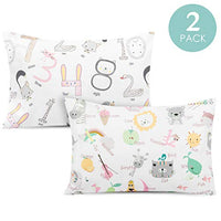 TILLYOU Toddler Travel Pillowcases Set of 2, 14x20- Fits Pillows Sized 12x16, 13x18 or 14x19, 100% Silky Soft Microfiber, Envelope Closure Machine Washable Kids Pillow Cases, Lt Pink