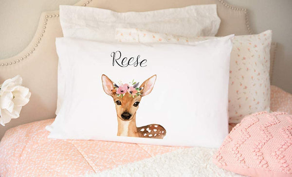 "Personalized Woodland Animal Nursery Pillow Cover 21"" x 31"" - Decorative Pillow Case for Nursery Room (for Girls, Deer Reese Design)"