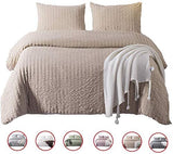 DuShow Solid Taupe Duvet Cover Set King Soft Seersucker Hotel Quality Bedding Set 3 Pieces Hotel Quality Comforfer Cover Set with Zipper Closure
