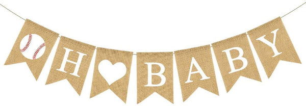 Natural Jute Burlap Banner Baseball Theme Baby Shower Party Decoration Fireplace Mantle Decoration