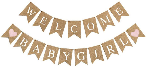 Baby Shower Party Decorations Welcome Baby Girl Burlap Banner Baby Gender Reveal Banner Baby Shower Party Decorations Supplies