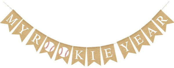 Rainlemon Jute Burlap My Rookie Year Banner Baseball Theme Boy 1st Birthday Party Garland Decoration