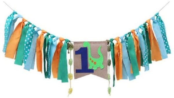 EBTOYS One Banner First Birthday Party Decorations 1st Birthday Burlap Dinosaur Theme Party Banner Garland