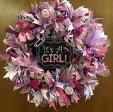 It's A Girl Burlap Wreath Door Decoration with Sparkle. Super Cute & Whimsical. Baby Girl, Gender reveal Baby Shower Decoration