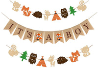 Woodland Themed Baby Shower Party Supplies and Decorations For Boys,1 It's A Boy Rustic Burlap Banner,2 Fox Deer Forest Animal Garland,Country Shower Nursery Favors and Decor,Natural Baby Boy Room Decor