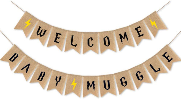 Rustic Baby Shower Party Decorations,Welcome Baby Muggle Burlap Banner,Baby Announcement and Gender Reveal Party Supplies and Favors,Vintage Garland and Sign,Suitable for Harry Potter Themed Party Decor,Baby Boy Girls Nursery Room Decor