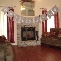 Chengcaifengye Blessed Baptism Burlap Banner Communion Party Banner Christening Decoration Easter Garland for Wedding, Baby Shower Party, Bridal Shower,First Communion