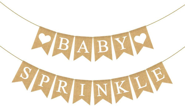 Rainlemon Jute Burlap Baby Sprinkle Banner Rustic Sprinkled with Love Baby Shower Party Mantel Fireplace Garland Decoration