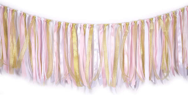 Fabric Lace Tassel Garland ribbon garlands Garland already assembled ribbon Wall Hanging Decor Nursery Photo Props For Wedding Event Birthday Anniversary Baby shower Party Supplies Pink & White & Gold