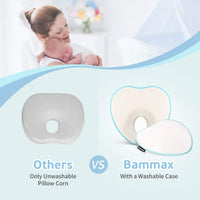 Bammax Baby Pillow Newborn, Newborn Pillow Flat Head, Infant Sleeping Pillow, Soft Breathable Memory Foam Baby Head Shaping Pillow Prevent Infant Flat Head Symptom Head Support for Baby 0-12 Months