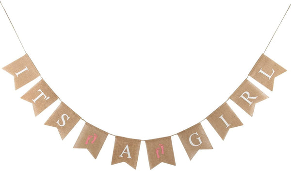 INNORU(TM It's A Girl Banner Burlap, Baby Shower, Girl's 1st Birthday Party Banner Decorations 2.8ft