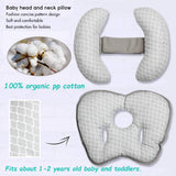 Adjustable Baby Travel Neck Pillow for Car Seat, 2 in 1 Pushchair Strollers Soft Head Neck Support for Infant Toddler,Organic Flat Head Pillow with Banana Neck Pillow for 6 Months to 2 Years
