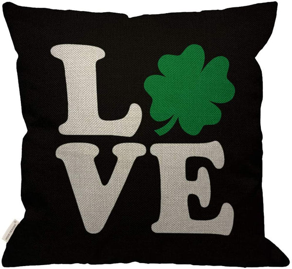 HGOD DESIGNS Patrick Day Love Pillow,Saint Patrick Four-Leaf Clover with Love Letter Green White Black Decorative Couch Sofa Burlap Pillow Cases for Women/Girls/Boy/Children Room 18x18 Inch