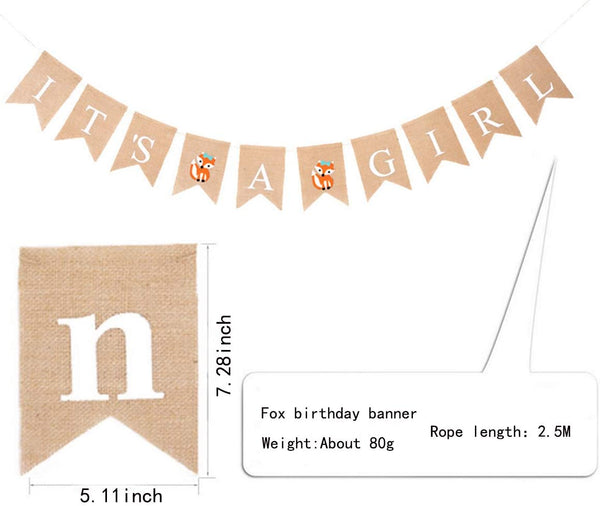 It's A Girl Burlap Happy Birthday Banner(7.2X5.1inch) Burlap Swallowtail Banners BABY Girl's Birthday Party Decoration(It's A Girl)