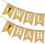 Rainlemon Jute Burlap Welcome Babee Banner Bumble Bee Themed Baby Shower Decoration Supply