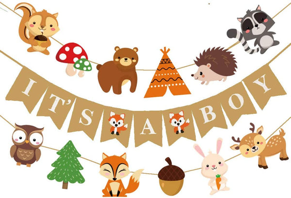 Woodland Creatures Fox Baby Shower It's A Boy Banner Forest Animal Friends Felt Garland Baby Shower Decor