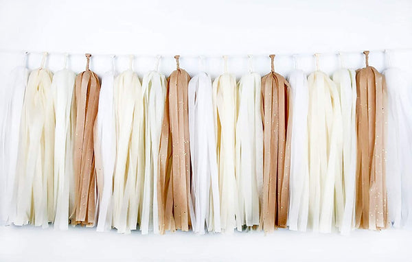 3-Pack Kraft Tan Brown Cream White Tissue Tassel Garland Party Streamers Bunting Banner Backdrop for Rustic Baby Shower Burlap Outdoor Wedding Bridal Shower Nursery Decorations