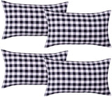 LGHome Pack of 4 Buffalo Check Soft Cotton Pillow Covers, 12x20inch Gingham Buffalo Plaid Pillow Case, Black White, for Christmas, Thanksgiving, Fall Decoration