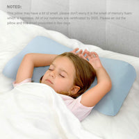 Aloudy Memory Foam Toddler Pillow, Organic Cotton Cover, Breathable Kids Pillow 20 x 12(10) x 2(2.5) for 2-10 Years Old Children(Blue)