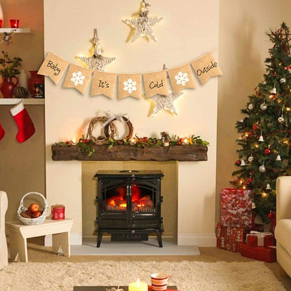 SWYOUN Burlap Baby It's Cold Outside Banner Winter Baby Shower Birthday Party Garland Mantel Fireplace Christmas Party Decoration