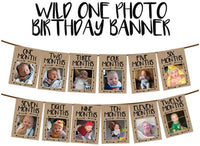 Burlap 1st Birthday Baby Phote Banner,Newborn Baby Monthly Milestone Photegraph Bunting Garland for Baby Shower First Birthday Party Decoration