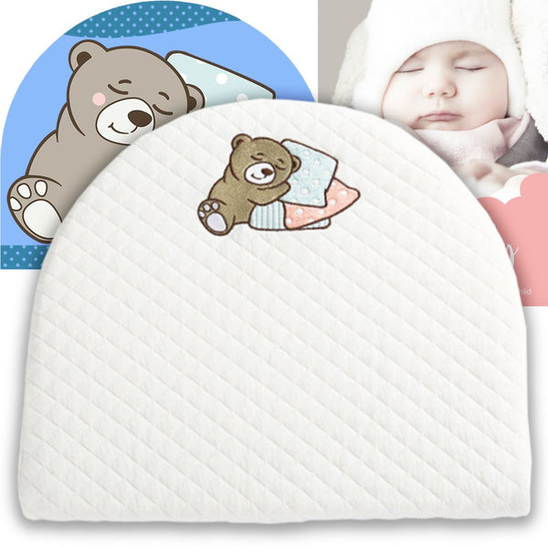 "Bassinet Baby Wedge | Infant Wedge Pillow for Reflux Colic | Rounded Bassinet Wedge Sleep Positioner | Elevates Baby Incline Pillow | Tested Baby Safe Nursery Pillow | 13.8""(W) x 12.2""(L) x 2.6""(H)"