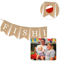 Jute Burlap Gone Fishing Banner Retirement Fishing Baby Shower Birthday Party Decoration Supply