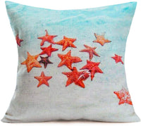 "ShareJ Mermaid Kisses and Starfish Wishes Pillow Cases Summer Beach Blue Decor Coastal Quote Cotton Linen Home Decorative Throw Pillow Case Cushion Cover for Sea Lover Sofa Couch 18"" x 18"" (Marine01)"