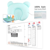 Ariel & Rebecca Flat Head Baby Pillow for Newborn 0-6 Months, Headshaping and Neck Support (10.6x10.6in)