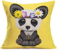 Aremetop Cartoon Panda Throw Pillow Covers Lovely Animal Panda Baby Wearing Flower Wreath Burlap Home Decor Pillowcase with Yellow Background Throw Pillow Cushion Cover 18 x 18 Inches (Peace Panda)
