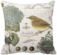 Emvency Throw Pillow Cover Floral Eggs Modern Vintage French Bird and Dragonfly Decorative Linen Pillow Case Home Decor Square 20 x 20 Inch Pillowcase