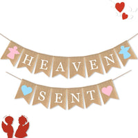 SWYOUN Burlap Heaven Sent Banner Baby Shower Party Gender Reveal Party Decoration Supplies