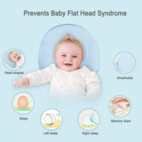 Newborn Baby Head Shaping Pillow, Baby Pillow for Prevention and Correction of Flat Head Syndrome, Baby Memory Foam Pillow with A Pillowcase to Exchange,.Best Perfect for 0-12 Months Baby