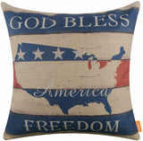"LINKWELL 18""x18"" Independence Day Holiday Faith Family Freedom Burlap Pillow Cover Cushion Cover CC1410"