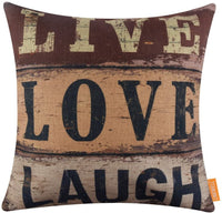 LINKWELL 18x18 inches Vintage Words Home Sweet Home Burlap Throw Pillowcase Cushion Cover (CC1289)