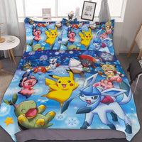 MEW Anime Poke-mon King/Cal-King Bedding Duvet Cover Set,Poke-mon (8),3 Pieces Bedding Set,with Zipper Closure and 2 Pillow Shams,Cute Boys Girls Comforter Sets,Luxury Guestroom Decorations