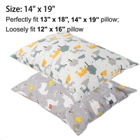 "Onacosht 100% Cotton Toddler Pillowcases 14""x19"" for 13""x18"" or 12""x16"" Kid Pillow, Soft Pillow Cover with Zipper Closure, Pack of 2, Cute Llama and Deer Printing"