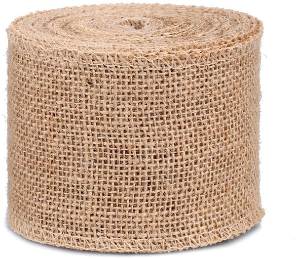 "10 Yards Natural Burlap Ribbon,3"" Wide Burlap Fabric Craft Ribbon for DIY Handmade, Craft Project, Wedding, Home Decoration"