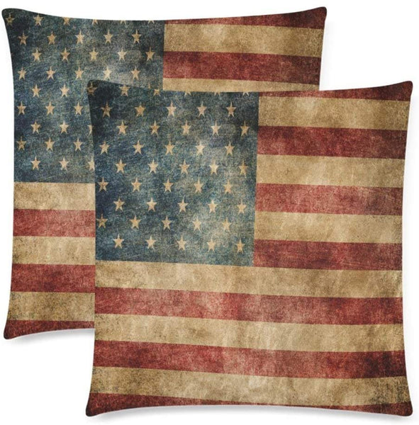 YOUNGKIDS Vintage USA American Flag Throw Pillow Case Set of 2, Retro Star Stripe American Patriotic Pillow Cushion Sham Covers for Bedding/Couch/Bench/Sofa, 26x26inch