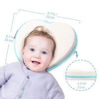 Baby Pillow for Newborn Infant, Baby Head Shaping Pillow 3D Memory Foam Cushion for Flat Head Syndrome Prevention and Head Support Breathable Flat Head Baby Pillows Newborn for Sleeping (0-12months)