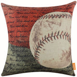 "LINKWELL 18""x18"" Vintage American Style Baseball Popular Sports in USA with Small Words for Man Cave Burlap Throw Pillow Case Cushion Cover (CC1120)"