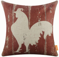 LINKWELL 18x18 inches Vintage Farmhouse Farm Rooster Burlap Pillowcase Throw Cushion Cover (CC1454)
