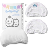 Baby Toddler Memory Foam Pillow | Baby Head Shaping Pillow | Flat Head Baby Pillow | Cotton Cover & 2 Bamboo Pillowcases | Keep Baby's Head Round | Crib Stroller Pillow