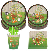 Amycute 69 Pcs Woodland Animals Disposable Tableware Set,Jungle Theme Party Decorations,Woodland Party Supplies,Baby Showers Birthday Party Favors Decorations