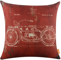 "LINKWELL 18""x18"" Retro Dark Red Motorcycle Classic Burlap Cushion Covers Pillow Case (CC1099)"