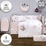 Baby Crib Bedding Set - 100% Turkish Cotton - 9 Piece Nursery Crib Bedding Sets for Girls - Elephant Design - 4 Color Variations by QQ Baby (Pink)